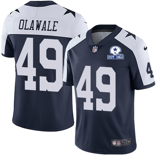 Nike Cowboys #49 Jamize Olawale Navy Blue Thanksgiving Men's Stitched With Established In 1960 Patch NFL Vapor Untouchable Limited Throwback Jersey