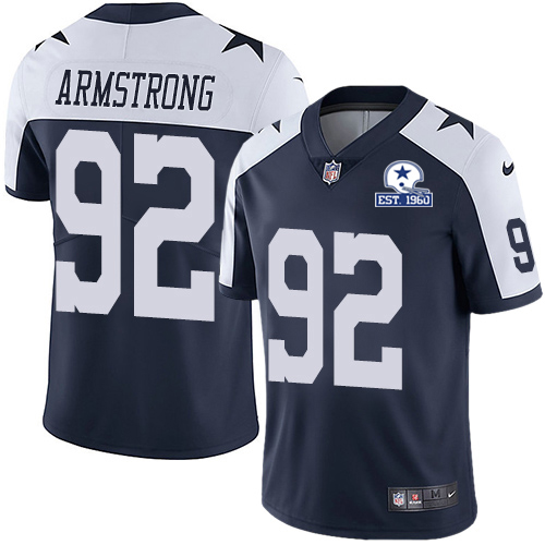 Nike Cowboys #92 Dorance Armstrong Navy Blue Thanksgiving Men's Stitched With Established In 1960 Patch NFL Vapor Untouchable Limited Throwback Jersey
