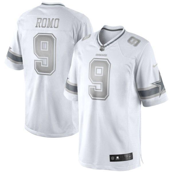 Nike Dallas Cowboys #9 Tony Romo Platinum White Game jerseys