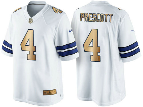 Nike Dallas Cowboys 4 Dak Prescott White 2016 Christmas Gold NFL Game Edition Jersey