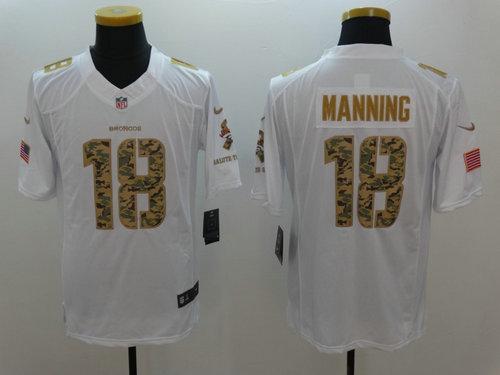 Nike Denver Broncos 18 Peyton Manning Nike White Salute To Service Limited Jersey