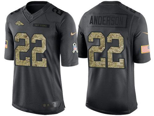 Nike Denver Broncos 22 C.J. Anderson Black NFL Salute to Service Limited Jerseys