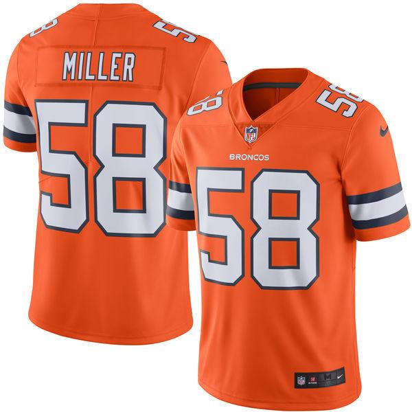 Nike Denver Broncos 58 Von Miller Orange Rush Limited Jersey