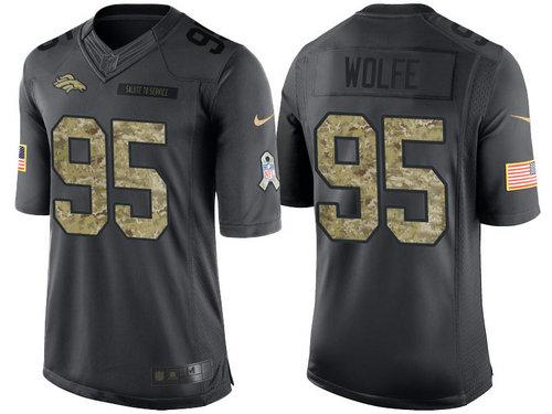Nike Denver Broncos 95 Derek Wolfe Black NFL Salute to Service Limited Jerseys
