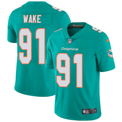 Nike Dolphins #91 Cameron Wake Aqua Green Team Color Men's Stitched NFL Vapor Untouchable Limited Jersey