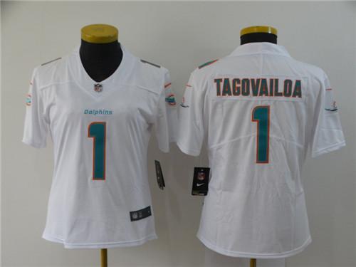 Nike Dolphins 1 Tua Tagovailoa White Women 2020 NFL Draft First Round Pick Vapor Untouchable Limited Jersey