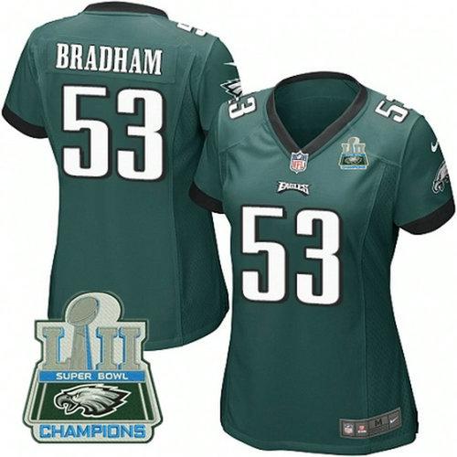 Nike Eagles #53 Nigel Bradham Green Women 2018 Super Bowl Champions Game Jersey_1