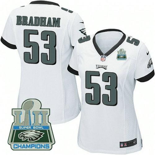Nike Eagles #53 Nigel Bradham White Women 2018 Super Bowl Champions Game Jersey_1