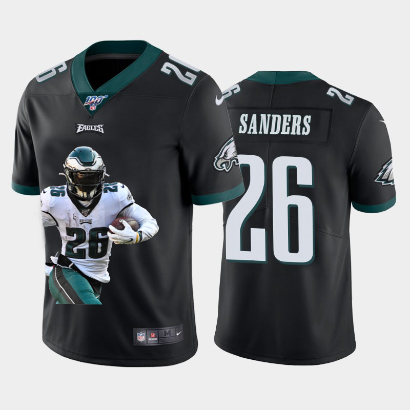 Nike Eagles 26 Miles Sanders Black Player Name Logo 100th Season Vapor Untouchable Limited Jersey