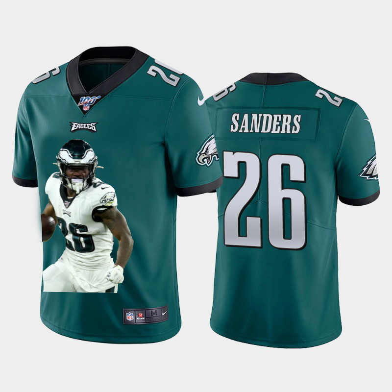 Nike Eagles 26 Miles Sanders Green Player Name Logo 100th Season Vapor Untouchable Limited Jersey