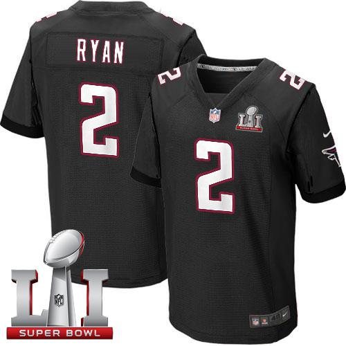 Nike Falcons #2 Matt Ryan Black Alternate Super Bowl LI 51 Elite Jersey