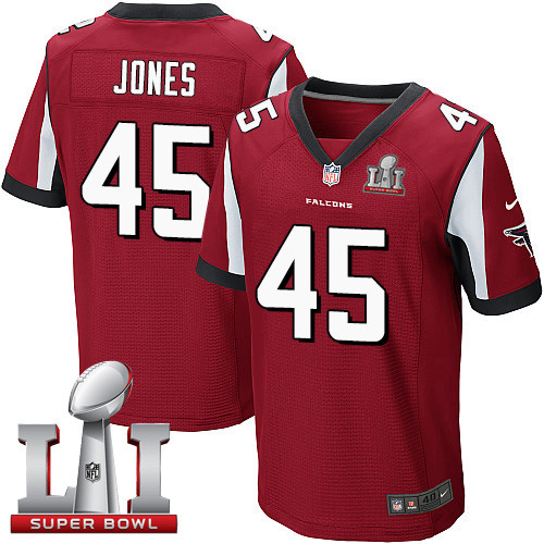 Nike Falcons #45 Deion Jones Red Team Color Super Bowl LI 51 Elite Jersey