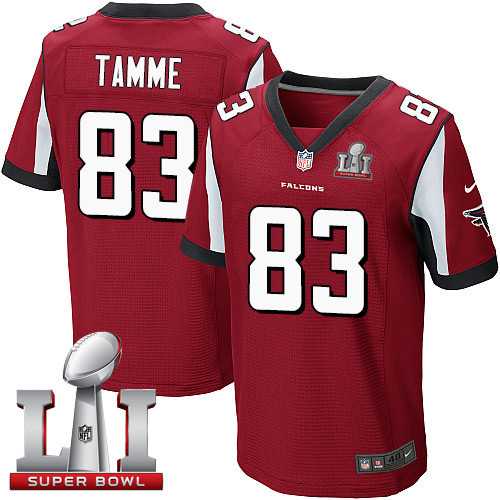 Nike Falcons #83 Jacob Tamme Red Team Color Super Bowl LI 51 Elite Jersey