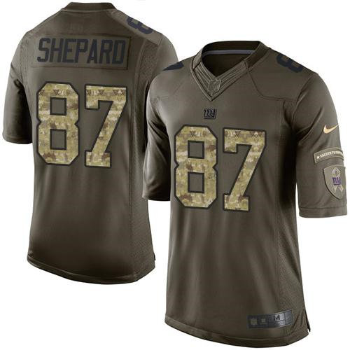 Nike Giants 87 Sterling Shepard Green NFL Limited Salute to Service Jersey