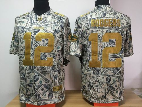 Nike Green Bay Packers 12# Aaron Rodgers Dollar Fashion Game jerseys