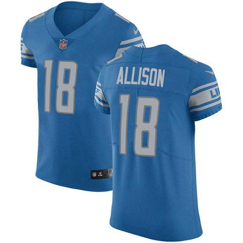 Nike Lions #18 Geronimo Allison Blue Team Color Men's Stitched NFL Vapor Untouchable Elite Jersey