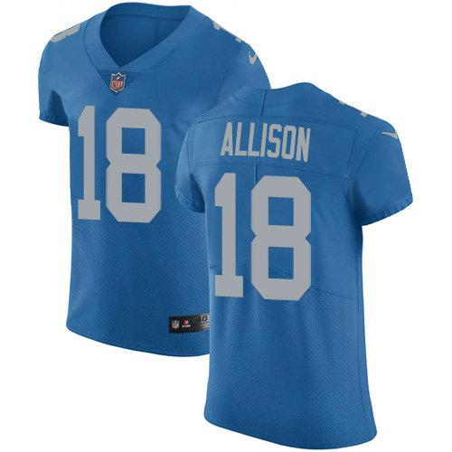 Nike Lions #18 Geronimo Allison Blue Throwback Men's Stitched NFL Vapor Untouchable Elite Jersey