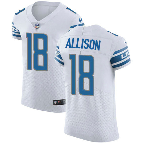Nike Lions #18 Geronimo Allison White Men's Stitched NFL New Elite Jersey