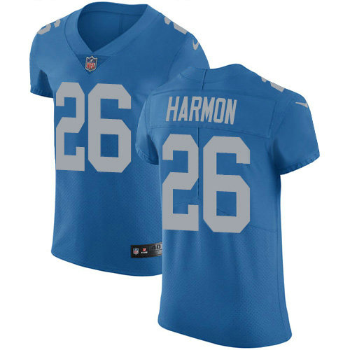 Nike Lions #26 Duron Harmon Blue Throwback Men's Stitched NFL Vapor Untouchable Elite Jersey