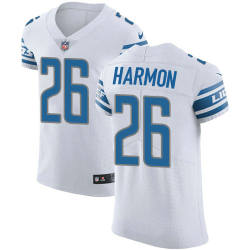 Nike Lions #26 Duron Harmon White Men's Stitched NFL New Elite Jersey