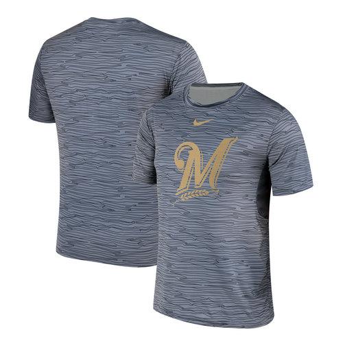 Nike Milwaukee Brewers Gray Black Striped Logo Performance T-Shirt