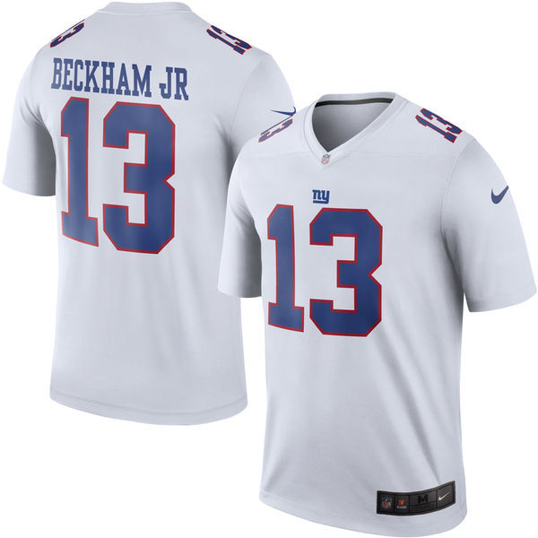 Nike New York Giants 13 Odell Beckham jr White Rush Jerseys