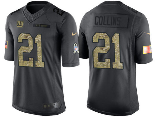 Nike New York Giants 21 Landon Collins Black NFL Salute to Service Limited Jerseys