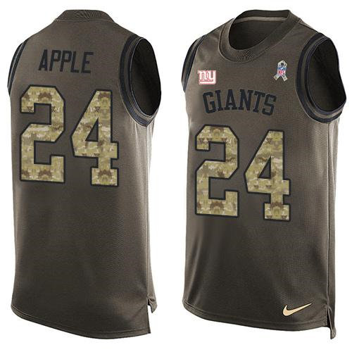 Nike New York Giants 24 Eli Apple Green NFL Limited Salute To Service Tank Top Jersey