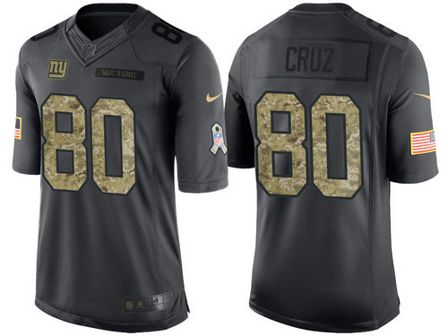 Nike New York Giants 80 Victor Cruz Black NFL Salute to Service Limited Jerseys