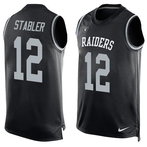 Nike Oakland Raiders 12 Kenny Stabler Black Team Color NFL Limited Tank Top Jersey