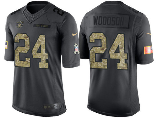 Nike Oakland Raiders 24 Charles Woodson Black NFL Salute to Service Limited Jerseys