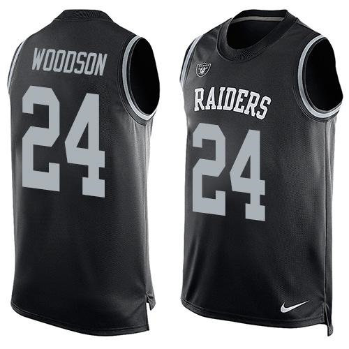 Nike Oakland Raiders 24 Charles Woodson Black Team Color NFL Limited Tank Top Jersey