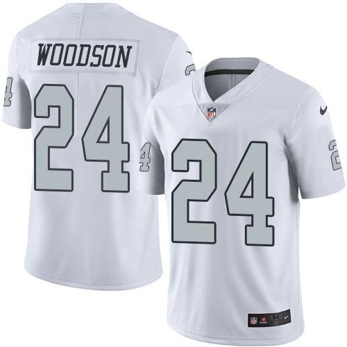 Nike Oakland Raiders 24 Charles Woodson White NFL Limited Color Rush Jersey