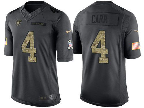 Nike Oakland Raiders 4 Derek Carr Black NFL Salute to Service Limited Jerseys
