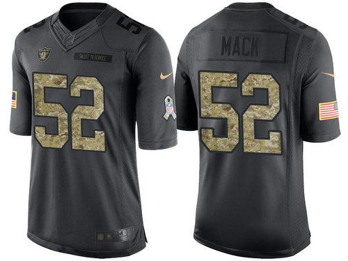 Nike Oakland Raiders 52 Khalil Mack Black NFL Salute to Service Limited Jerseys