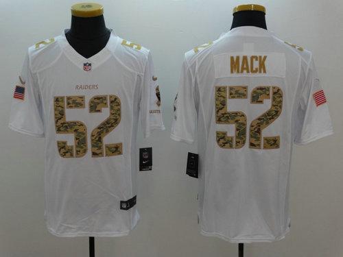 Nike Oakland Raiders 52 Khalil Mack Nike White Salute To Service Limited Jersey