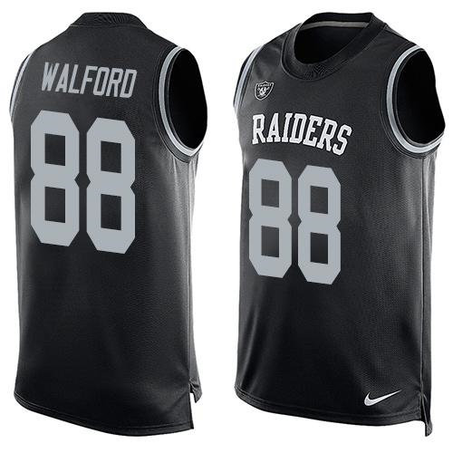 Nike Oakland Raiders 88 Clive Walford Black Team Color NFL Limited Tank Top Jersey