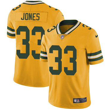 Nike Packers #33 Aaron Jones Yellow Men's Stitched NFL Limited Rush Jersey