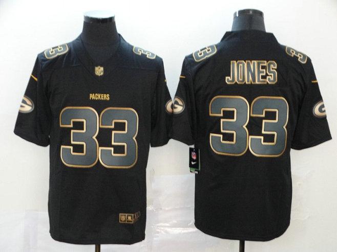 Nike Packers 33 Aaron Jones Black Gold Vapor Untouchable Limited Jersey
