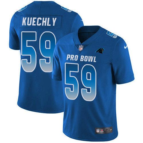 Nike Panthers #59 Luke Kuechly Royal Youth Stitched NFL Limited NFC 2019 Pro Bowl Jersey