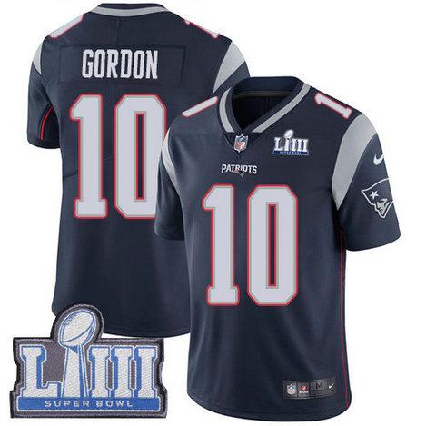 Nike Patriots #10 Josh Gordon Navy Blue Team Color Super Bowl LIII Bound Men's Stitched NFL Vapor Untouchable Limited Jersey