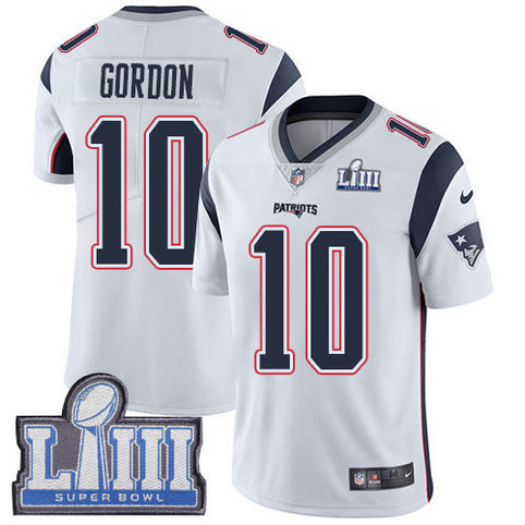 Nike Patriots #10 Josh Gordon White Super Bowl LIII Bound Men's Stitched NFL Vapor Untouchable Limited Jersey