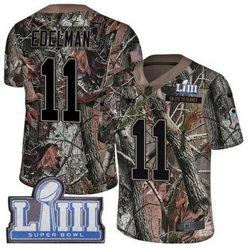 Nike Patriots #11 Julian Edelman Camo Super Bowl LIII Bound Men's Stitched NFL Limited Rush Realtree Jersey