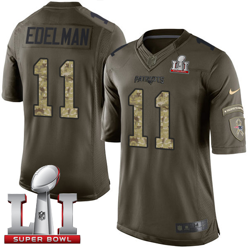 Nike Patriots #11 Julian Edelman Green Super Bowl LI 51 Limited Salute to Service Jersey