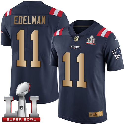 Nike Patriots #11 Julian Edelman Navy Blue Super Bowl LI 51 Limited Gold Rush Jersey