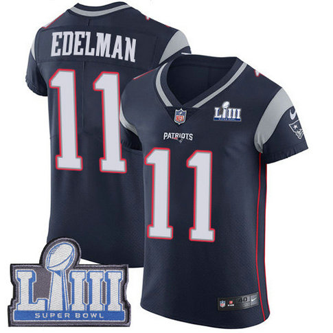Nike Patriots #11 Julian Edelman Navy Blue Team Color Super Bowl LIII Bound Men's Stitched NFL Vapor Untouchable Elite Jersey