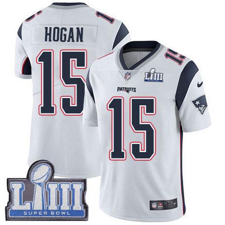 Nike Patriots #15 Chris Hogan White Super Bowl LIII Bound Men's Stitched NFL Vapor Untouchable Limited Jersey
