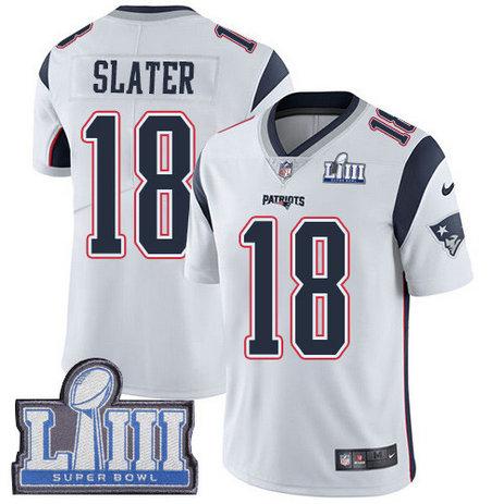 Nike Patriots #18 Matt Slater White Super Bowl LIII Bound Men's Stitched NFL Vapor Untouchable Limited Jersey