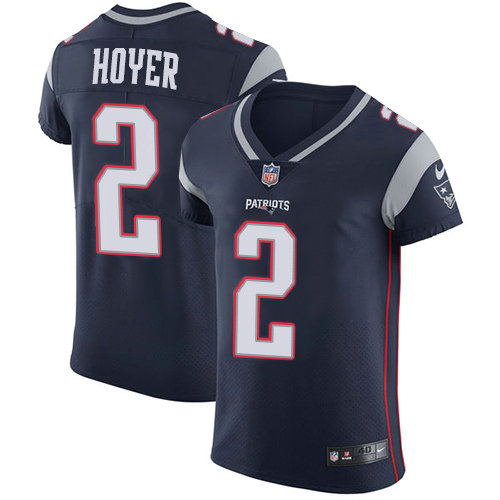 Nike Patriots #2 Brian Hoyer Navy Blue Team Color Men's Stitched NFL Vapor Untouchable Elite Jersey