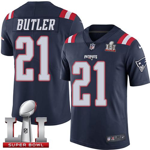 Nike Patriots #21 Malcolm Butler Navy Blue Super Bowl LI 51 Limited Rush Jersey